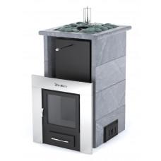 Печь банная ИзиСтим Сочи-М2 в трёхстороннем кожухе из талькохлорита с открытым верхом