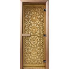 Дверь стеклянная для бани и сауны Фотопечать 190х70, А021