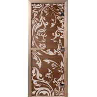 Дверь стеклянная для бани и сауны Бронза Венеция 180х70 (коробка листва)