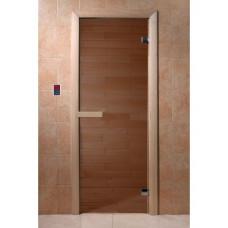 Дверь для бани и сауны Бронза 190х70, 6 мм (коробка хвоя)