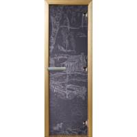 """Дверь стеклянная  для бани и сауны 3D матировка """"Дом у пруда"""" (бронза матовая) 190*70"""