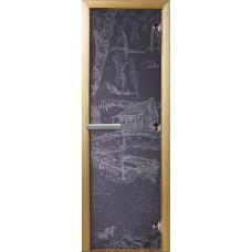 """Дверь стеклянная в баню 3D  """"Дом у пруда"""" (бронза матовая) 190*70"""