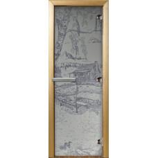 """Дверь стеклянная для бани и сауны 3D матировка """"Дом у пруда"""" (сатин) 190*70"""