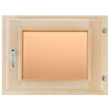 Оконный блок (форточка) стеклопакет липа 40*30 стекло бронза