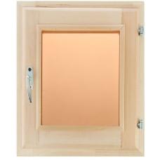 Оконный блок (форточка) стеклопакет липа 40*50 стекло бронза