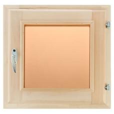 Оконный блок (форточка) стеклопакет липа 60*60 стекло бронза