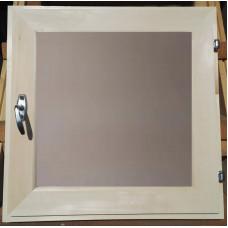 Оконный блок (форточка) стеклопакет липа 60*60 матовое стекло