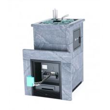 Печь банная ИзиСтим Премиум Сочи-М2 под газ с открытым верхом в кожухе из талькохлорита