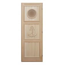 Дверь деревянная с якорем иллюминатором 180*70