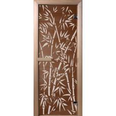 """Дверь стеклянная для бани и сауны Бронза """"Бамбук"""" 190*70 (коробка хвоя)"""