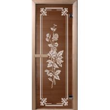 Дверь стеклянная для бани и сауны Бронза Розы 190*70 (коробка хвоя)
