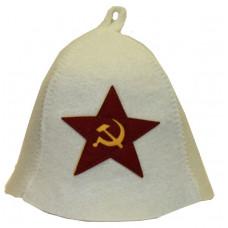 Шапка для бани с аппликацией Советская звезда