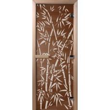 """Дверь стеклянная для бани и сауны Бронза """"Бамбук и бабочки"""" 190*80 (коробка листв)"""