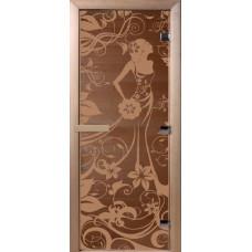 Дверь стеклянная для бани и сауны Бронза Девушка в цветах 170*70 (коробка листв)