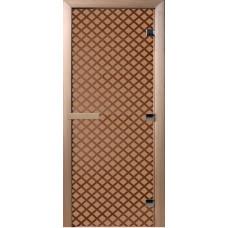 Дверь стеклянная для бани и сауны Бронза матовая Мираж 180х70 (коробка листва)
