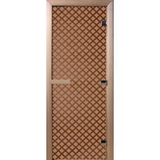 Дверь стеклянная для бани и сауны Бронза матовая Мираж 190х70 (коробка листва)