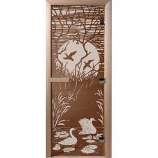 Дверь стеклянная для бани и сауны Бронза Лебединое озеро 190х70 (коробка листва)