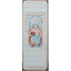 Дверь глухая пано с резьбой 3D С легким паром (мужичек) 1900*700