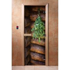 Дверь стеклянная для бани и сауны Фотопечать 190х70, А007