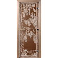 Дверь стеклянная для бани и сауны Бронза Березка  200х80 (коробка листва)