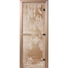 Дверь стеклянная для бани и сауны Прозрачная Березка 180х70 (коробка листва)