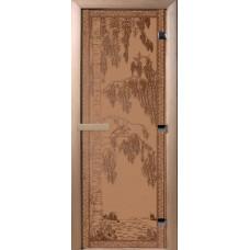Дверь стеклянная для бани и сауны Бронза матовая Березка 200х80 (коробка листва)
