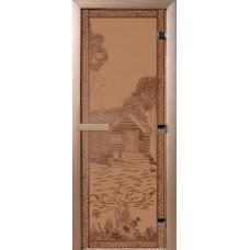 Дверь стеклянная для бани и сауны Бронза матовая Банька в лесу 190х70 (коробка листва)