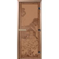 Дверь стеклянная для бани и сауны Бронза матовая Банька в лесу 180х70 (коробка листва)
