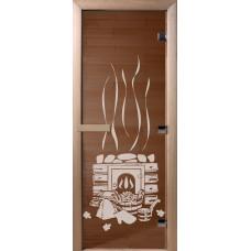 Дверь стеклянная для бани и сауны Бронза Банька 180х70 (коробка листва)