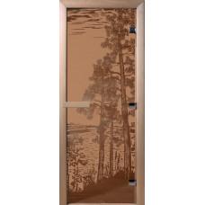 Дверь стеклянная для бани и сауны Бронза матовая Рассвет 200*800 (коробка листв)
