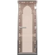 Дверь стеклянная в хамам Бронза матовая Восточная арка 190х70