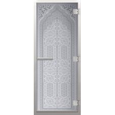 Дверь стеклянная в хамам Сатин Восточная арка 3d матирование 190х70
