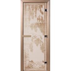 Дверь стеклянная для бани и сауны Сатин Березка 180х70 (коробка листв.)
