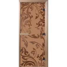 Дверь стеклянная для бани и сауны Бронза матовое Венеция 180х70 (коробка листва)