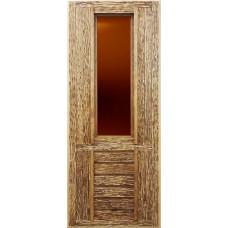 Дверь глухая, искусственно состаренная со стеклом(липа) 1900*700