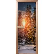 Дверь стеклянная для бани и сауны Фотопечать 190х70, А093