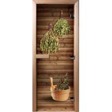 Дверь стеклянная для бани и сауны Фотопечать 190х70, А004