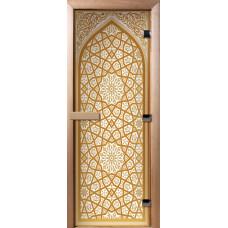 Дверь стеклянная для бани и сауны Фотопечать 190х70, А026