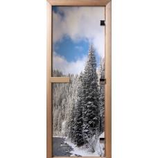 Дверь стеклянная для бани и сауны Фотопечать 190х70, А095