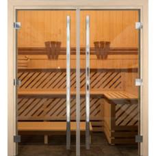 Дверь стеклянная Бронза Двустворчатая Престиж 1890*1310