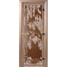 Дверь стеклянная для бани и сауны Бронза Березка 180х70 (коробка листва)