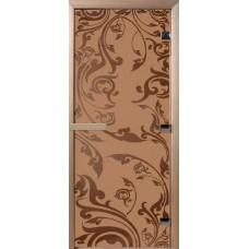 Дверь стеклянная для бани и сауны Бронза матовое Венеция 190х80 (коробка листва)
