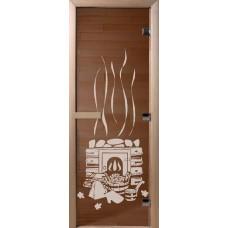 Дверь стеклянная для бани и сауны Бронза Банька 170х70 (коробка листва)