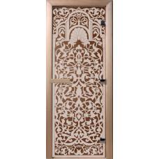 Дверь стеклянная для бани и сауны Бронза Флоренция190х70 (коробка листва)