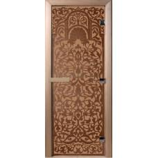 Дверь стеклянная для бани и сауны Бронза матовая Флоренция190х70 (коробка листва)